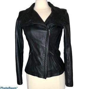 Michael Kors Black Leather Moto Jacket Sz S